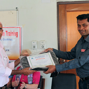 A Trainee receiving Certificated from ACN