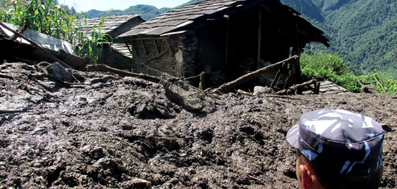 A landslide in Lumle, ACN at rescue